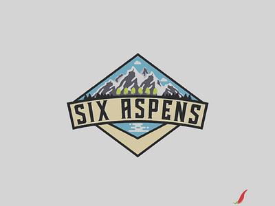 Six Aspens logo concept amblem mountain adventure logo