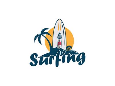 Surfing logo design summer surfing logo