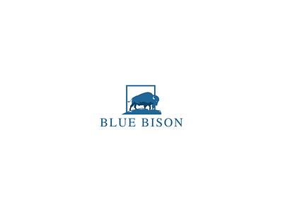 Blue Bison bison animal logo design