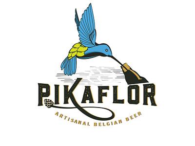 Pikaflor typography illustration logo design