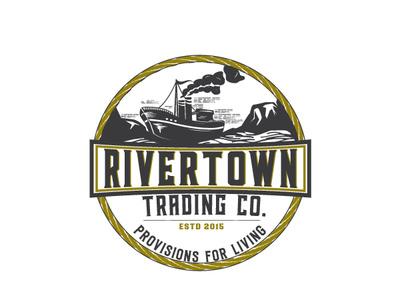Rivertown label design design illustration logo