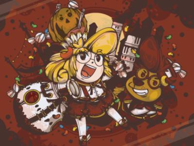 Halloween pop illustration character cute kawaii illust halloween design