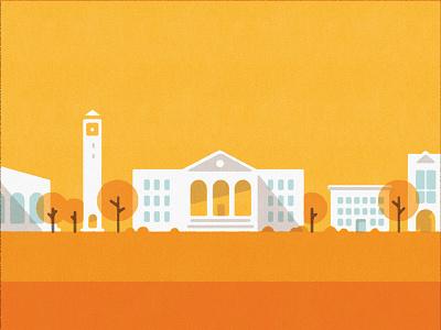University illustration university print buildings geometric