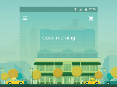 Good morning illustration new york android city material material design