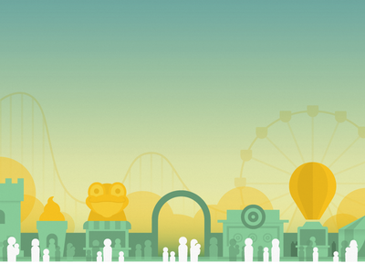 Launch Screen crowds roller coaster ferris wheel frog amusement park illustration