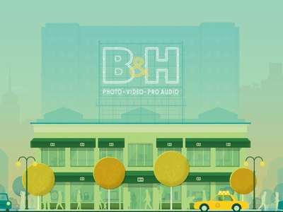 B&H Banner audio video photo taxi nyc new york store bh illustration google material design