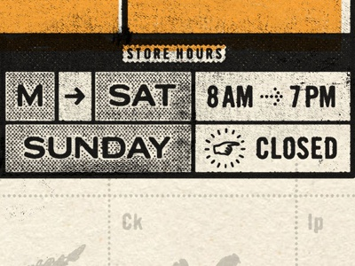 Hours typography grid trade gothic bold condensed no.2 dates arrow dingbat black yellow print offset ink worn halftone grotesque sans-serif american gothic