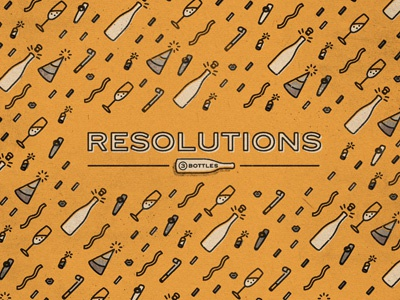 Resolutions icons new years champagne bubbly party favors confetti kazoo firecracker resolution 3cups gothic sans-serif cover