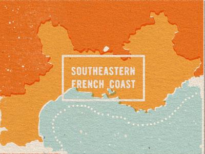 Southeastern France map france coast print mediterranean