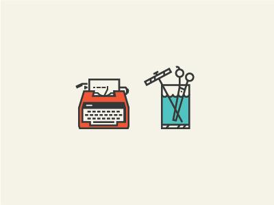 Typewriter & Shears iconography typewriter scissors jar illustration icon