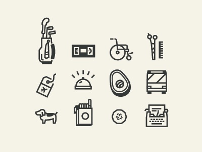 Icon work icons golf vhs wheelchair scissors comb tag bell avocado bus dog cigarettes cucumber typewriter