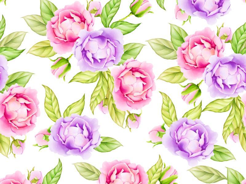 watercolor floral and leaves seamless pattern vintage art flower botanical nature design spring plant decoration textile summer print illustration wallpaper watercolor background leaf pattern seamless floral