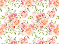 watercolor floral and leaves seamless pattern