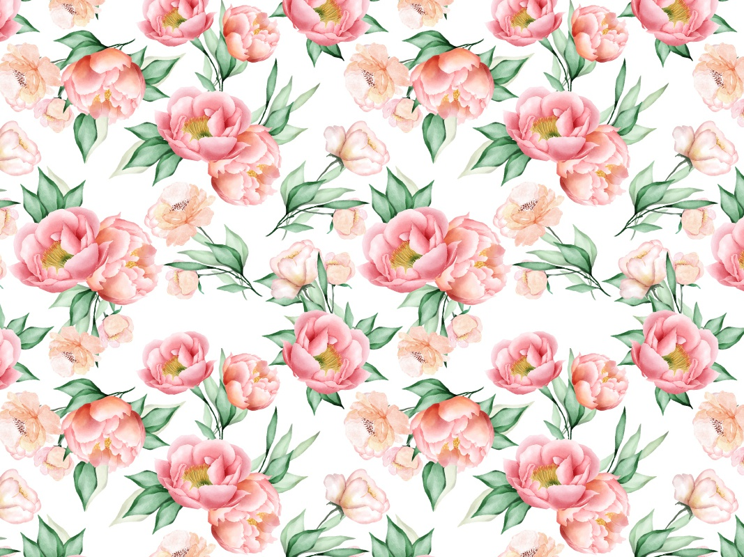 Watercolor Floral And Leaves Seamless Pattern By Volcebyyou