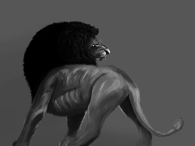 Fierce ferocious fierce roar mane black and white painting illustration reialesa king animal digital painting digital art lion