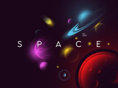 Space saturn jupiter ui design illustration universe nasa astronaut colorfull landing page space flat illustrator