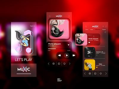 Music Player Ui Design cool design app red mp3 player song artist playlist music app music ui  ux player music player ui music player app