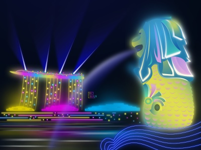 Singapore Neon Effect vector asia lion fountain night vector illustration flat vectordesign vector art illustrator illustration neon effect neon light neon colorful singapore
