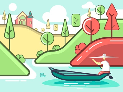 Meghalaya illustration illustration refreshing landing page stroke illustration hills boat vector illustration vectorart asia meghalaya
