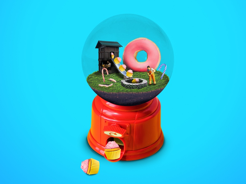 Candy Machine ad art direction cupcake sweets candy photoshop realism graphic design