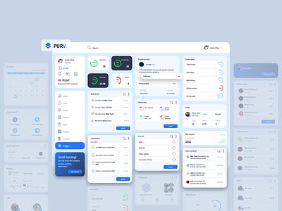 Purpose Widgets Admin Dashboard UI notifications profile to do list task widget logo user calendar cards columns color clean ui design admin dashboard