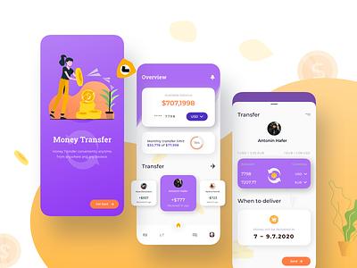 Money Transfer Mobile App UI money transfer color user currency overview transfer clean illustrator finance ui design app mobile