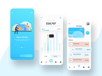 Bank Moblie - Finance app UI Kit user cards menu chart illustrator money clean blue mobile app finance