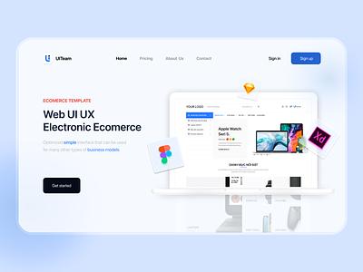 Landing Page Electronic E-commerce UI Design color illustration ui design business simple template web ecommerce langding page ux ui blue figma clean
