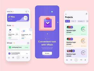 VRain - App Remind Task UI 3d project manager app task e-commerce chart cards ui design color user clean