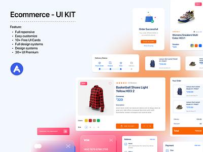 Component E-commerce - UI KIT ui kit fashion e-commerce logo illustration chart cards ui design user color clean