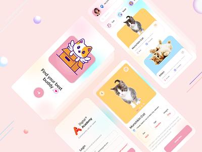 Pet Adopt - Mobile App cat animal adopt e-commerce pet cards ui design user color clean