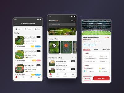 Booking Football Field App UI app booking booking field sport e-commerce gray ux ui app clean dark mode