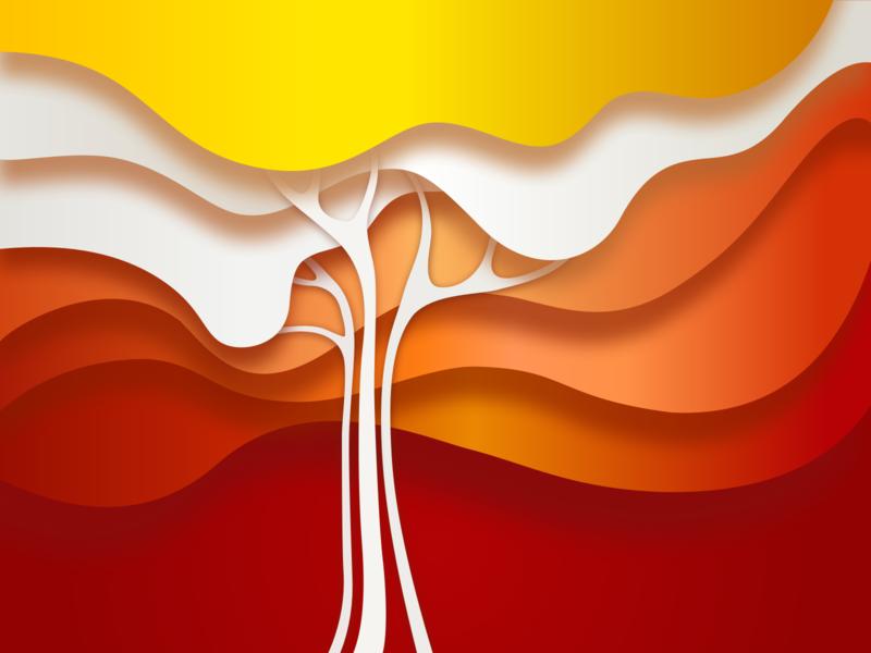 Rainbow Tree illustration tree design