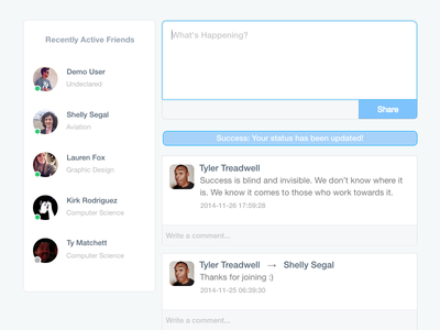 Success Status Update UI ui social ux flat redesign