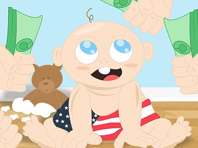Baby America illustration baby america flat