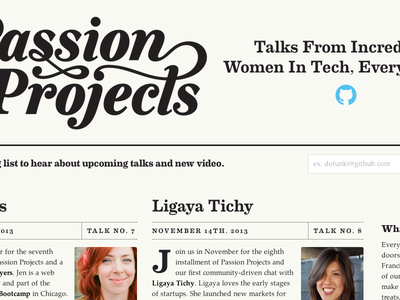 Passion Projects Redesign newspaper passion-projects github pretty
