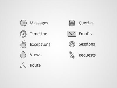Icons - Laravel Debugbar Redesign  development web technology outline debug laravel redesign icons