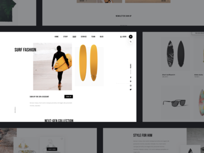 Surf Shop 🏄 Web Design :: Layout Exploration