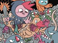 chipi battles the purple monsters!