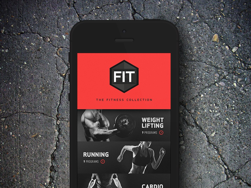 Gym App Concept workout app iphone tough masculine red black typography depth bands