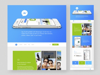 Facebook Messenger Site grid mobile light colorful layout marketing site web design