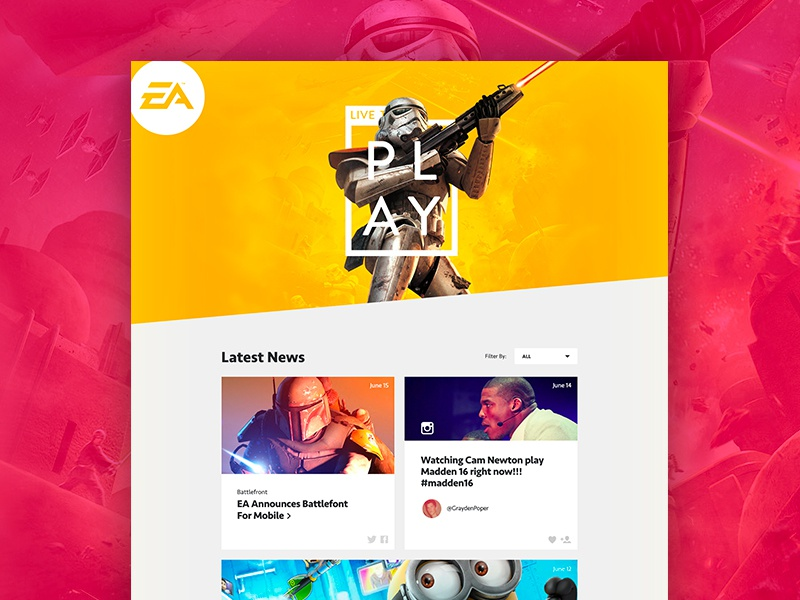 EA Summer of Play timeline event e3 video games ea system layout grid web colorful