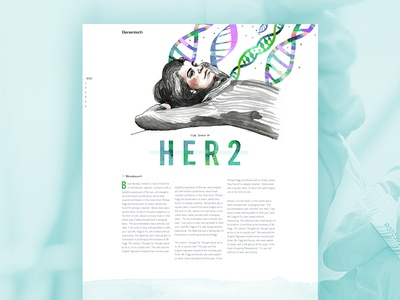 Her 2 Breast Cancer Research #2 watercolor human colorful story layout typography illustration wendy macnaughton editorial