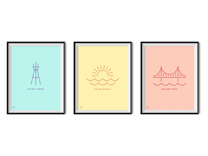 San Francisco Posters poster illustration colorful simple line sf icons
