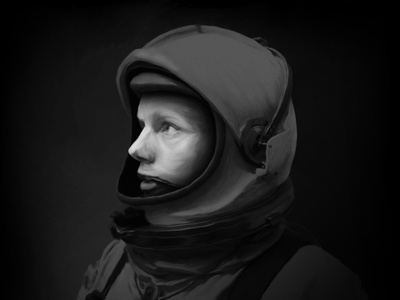 Astronaut Digital Painting portrait space oil mystery light astronaut black and white digital painting