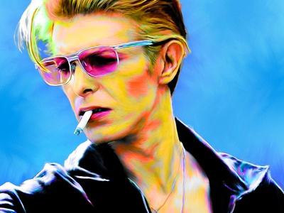 David Bowie Digital Painting legend smoking glasses photoshop blue colorful digital painting david bowie