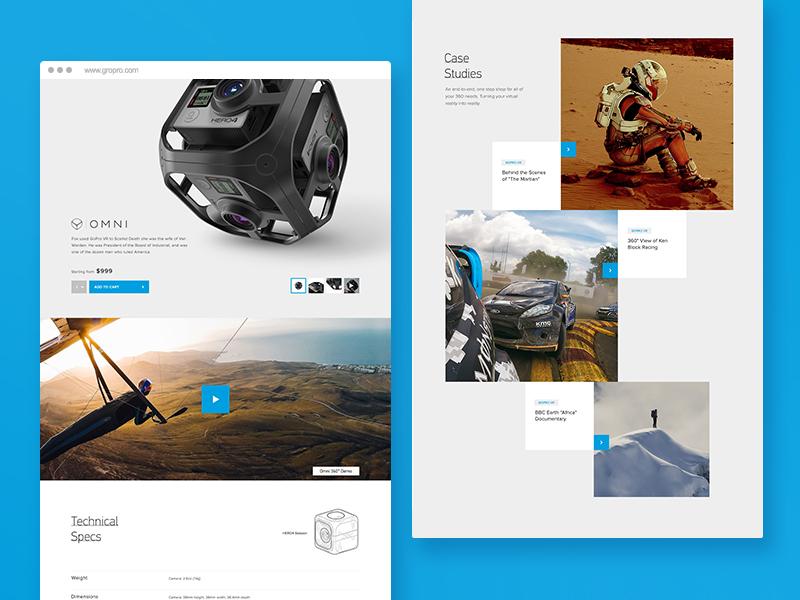 GoPro Professional Design tech play detail light ui web design grid product vr gopro