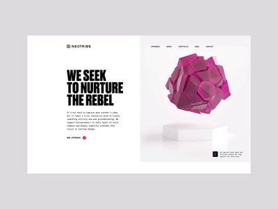 Neotribe Website light 3d motion hero web header