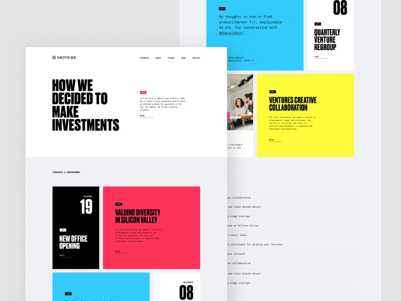 Neotribe News bold typography grid layout grid colorful news web