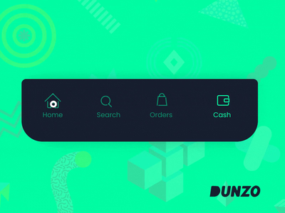 Dunzo - Tab Bar app ui design interaction animation green tab bar app design swiggy dunzo